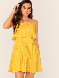 Neon Yellow Foldover Polka Dot Pleated Cami Dress