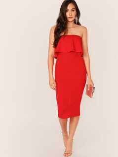 Ruffle Foldover Slit Hem Dress