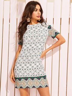 Tribal Print Keyhole Back Tunic Dress
