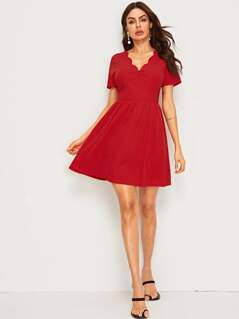Scalloped Trim Fit & Flare Dress
