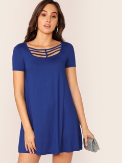 Strappy Neck Solid Flowy Dress