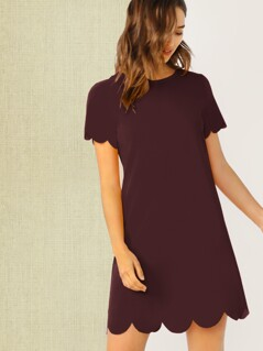 Scallop Edge Tunic Dress