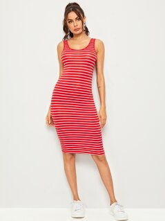 Striped Pencil Tank Dress