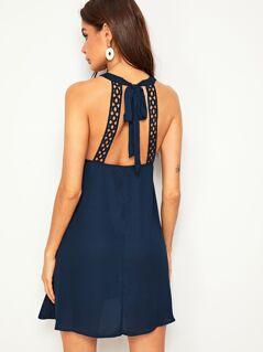 Tie Back Guipure Lace Trim Halter Dress