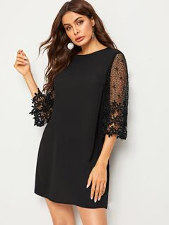 Guipure Lace Sleeve Solid Dress