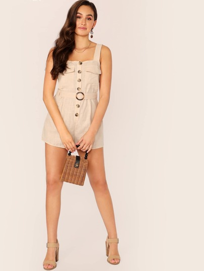 SheIn / Flap Pocket Button Front O-ring Belted Romper
