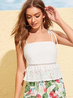 Lace Insert Schiffy Peplum Cami Top