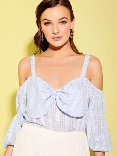 Bow Front Check Blouse