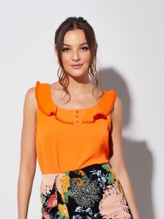 Neon Orange Button Detail Lace Trim Ruffle Top