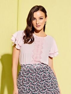 Guipure Lace Applique Layered Flutter Sleeve Top