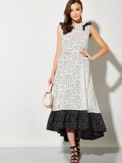 Allover Print Ruffle Trim Two Tone Dip Hem Dress