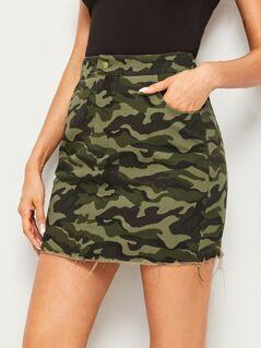 Camo Print Raw Hem Skirt
