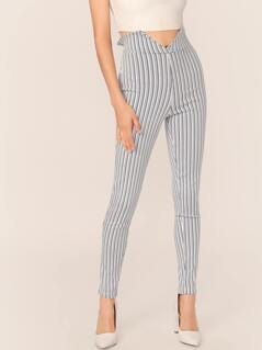 High Waisted Tie Back Stripe Skinny Pants