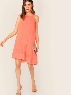 Halter Neck Pleated Chiffon Trapeze Dress
