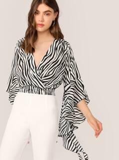 Ruffle Flutter Sleeve Zebra Print V-Neck Blouse