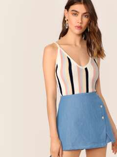 V-Neck Stripe Rib Knit Crop Tank Top