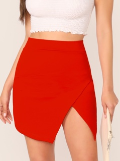 Asymmetrical Wrap Hem Skirt