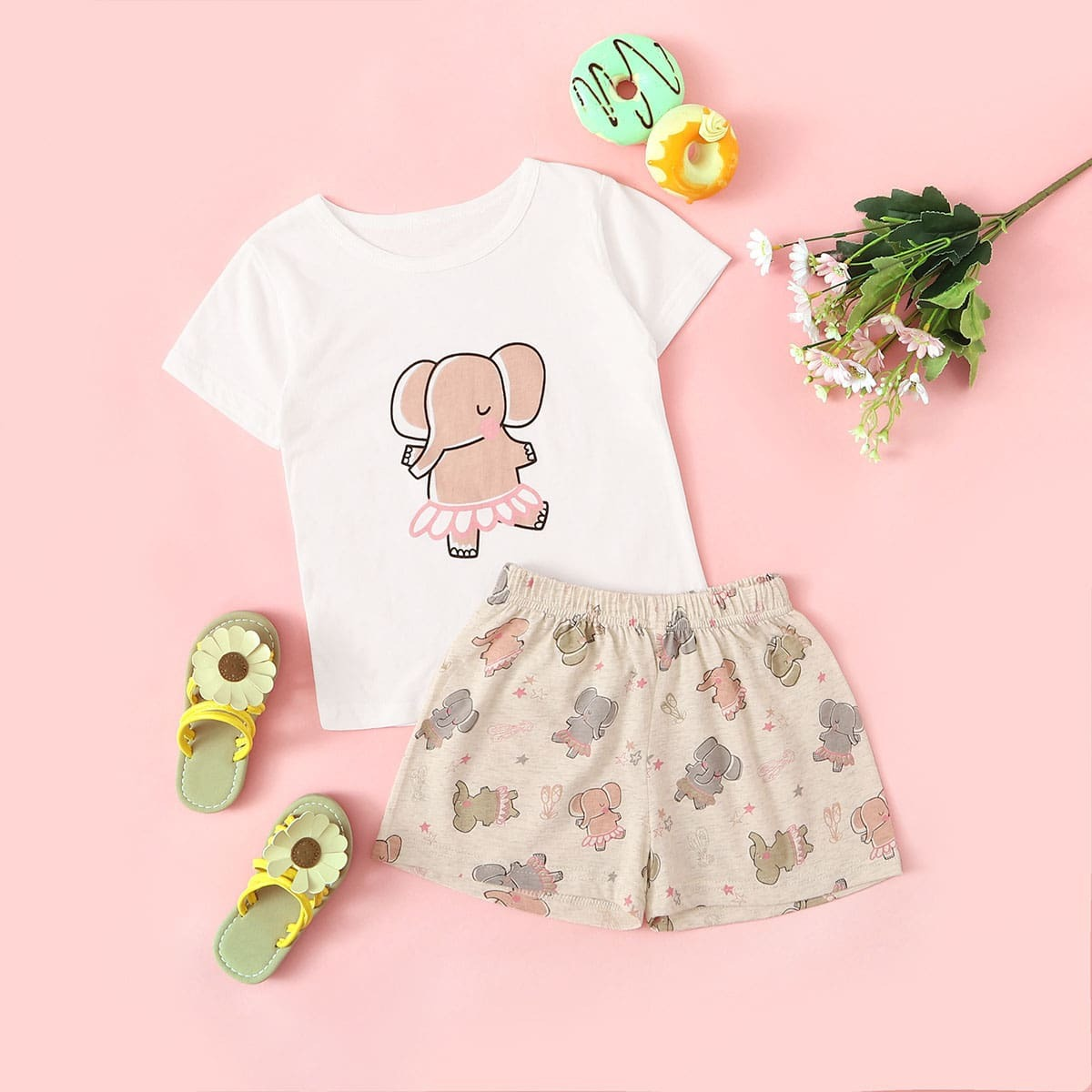 Пижама с принтом фламинго для девочек от SHEIN