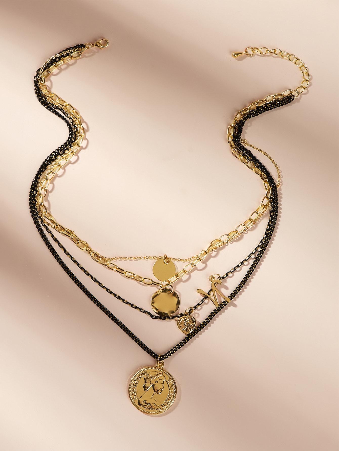 Фото - Многослойное цепное ожерелье 1шт от SheIn цвет золотые