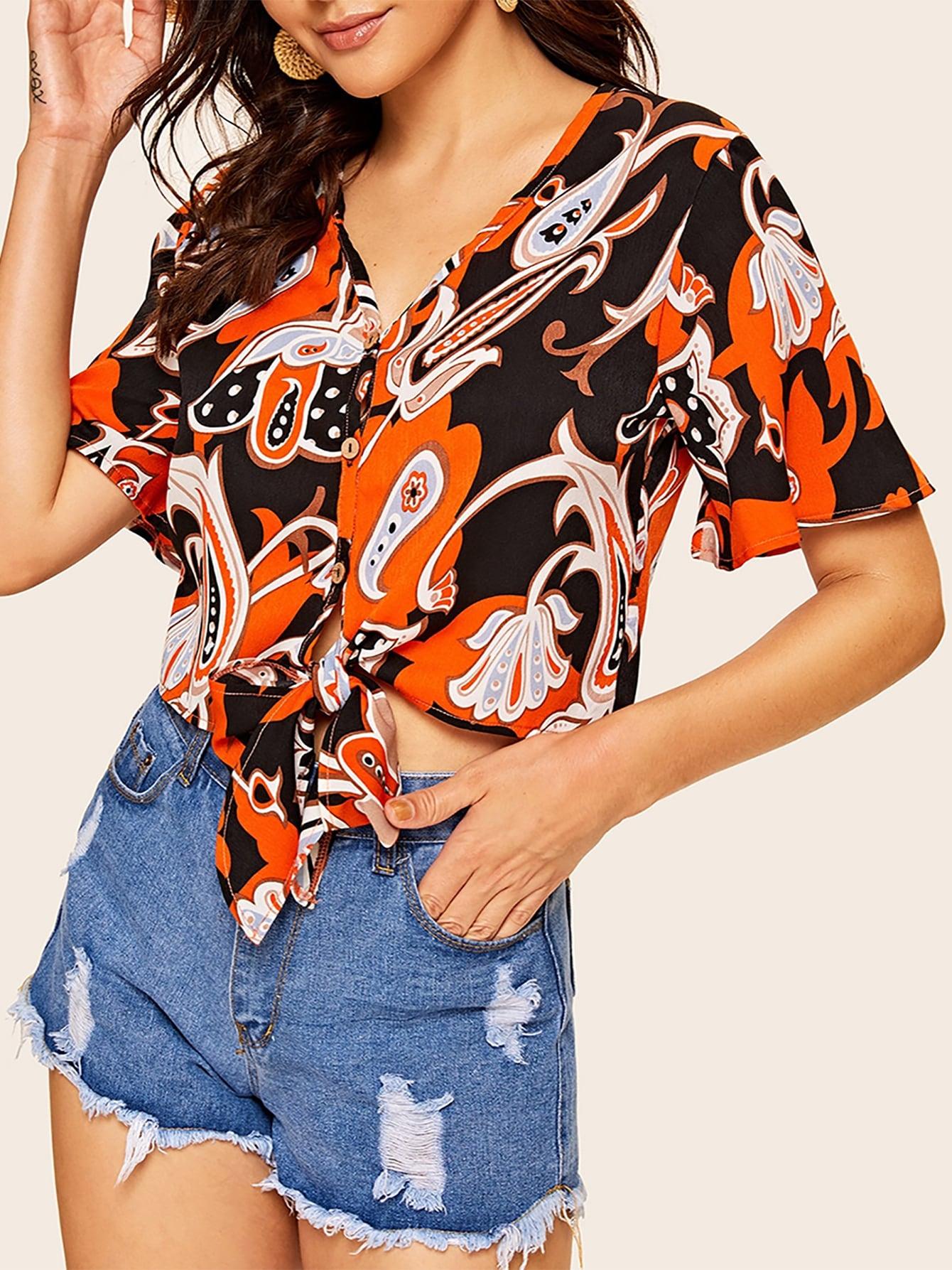 Фото - Блузу с пуговицами, модным принтом и узлом от SheIn цвет многоцветный
