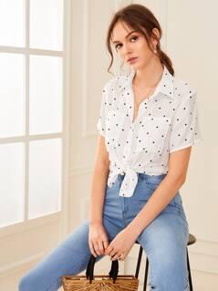 Polka-dot Print Patched Shirt
