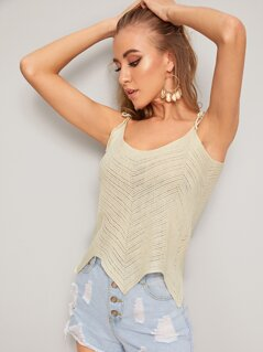 Solid Asymmetrical Hem Knotted Strap Cami Top