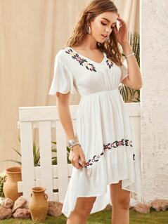 Flutter Sleeve Botanical Embroidered Dip Hem Dress