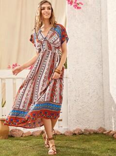 Tribal & Paisley Print Bustier Dress