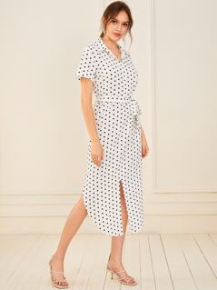 Polka-dot Split Hem Belted Shirt Dress