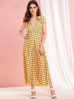 Polka-dot Plunge Neck Knotted Strap Dress