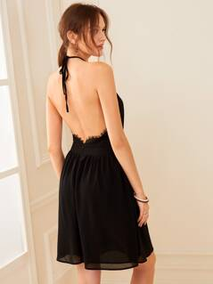 Lace Insert Backless Halterneck Dress