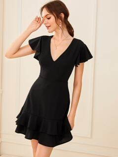 Butterfly Sleeve Layered Ruffle Hem Dress