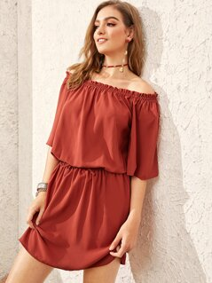 Off Shoulder Frill Trim Blouson Dress