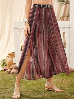 Tribal Split Thigh Wide Leg Pants Without Belt