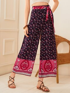 Ditsy Floral Print Belted Wide Leg Pants