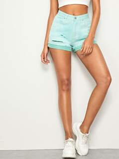 Ripped Detail Cuffed Denim Shorts