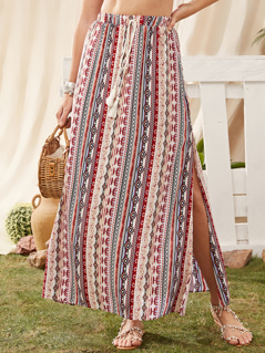 Tribal Print Split Thigh Fringe Detail Skirt