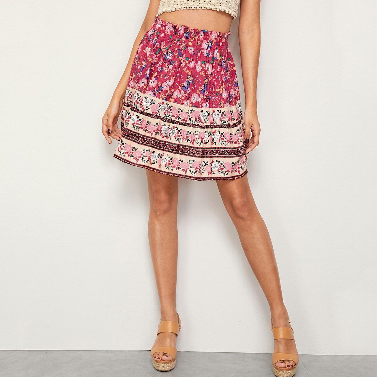 SHEIN / Falda de cintura con volante con estampado floral