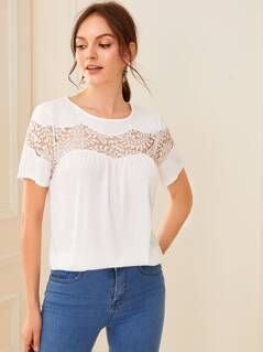 Solid Lace Insert Tee