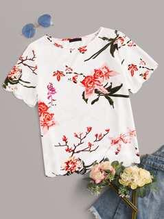 Floral Print Scalloped Hem Top