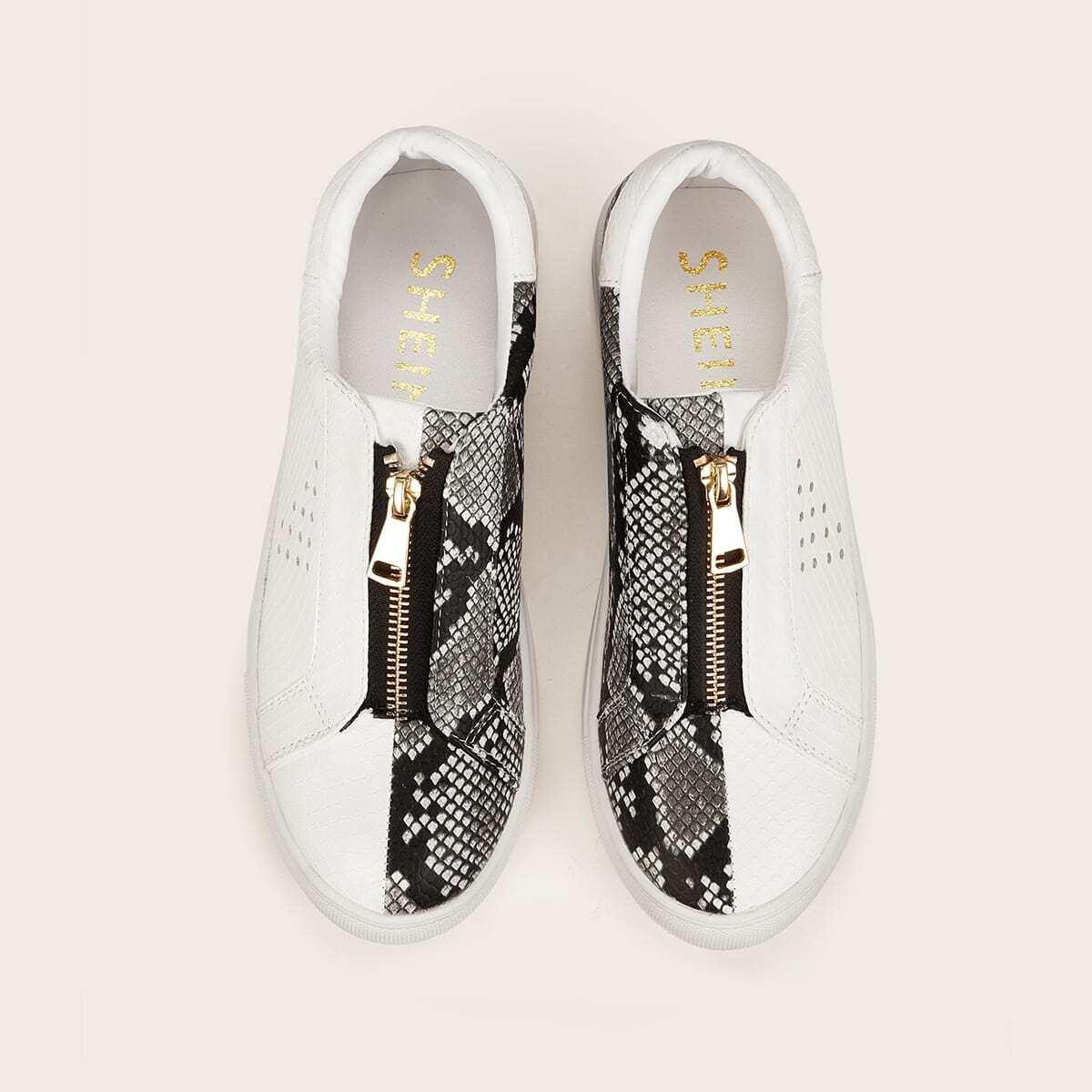 Snakeskin patroon sneakers met ritssluiting vooraan