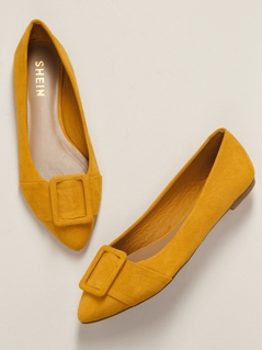 Belted Pointed Toe Front Slip On Ballet Flats