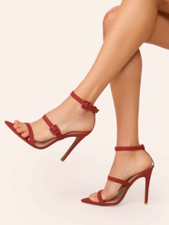 Pointed Sole Twin Buckle Straps Stiletto Heels