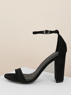 Open Toe Buckled Ankle Strap Chunky Heel Sandals