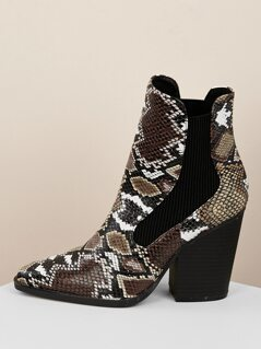Pointed Toe Snakeskin Block Heel Ankle Boots