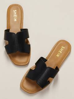 H-Cut Out Wide Band Flat Slide Sandals