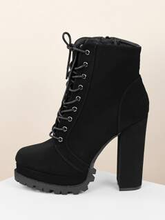 Lace Up Lug Sole Chunky Heel Platform Booties