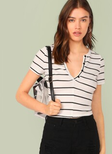 Notch Neck Buttoned Striped Top
