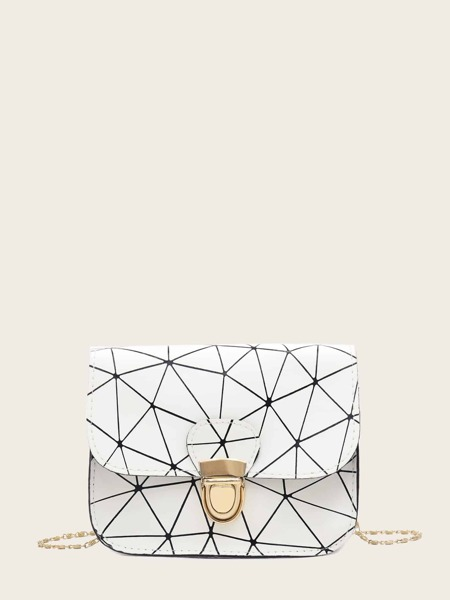 Geometric Print Push Lock Chain Bag
