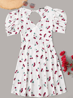 Cherry Print Gathered Sleeve Tie Back Dress